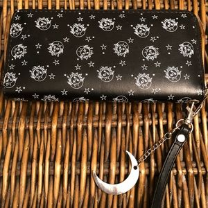 Black sun and moon wallet w/ keychain